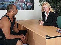 I was loading my trunk, when this blonde business broad approached me for some fitness advice.  She could tell that I worked out and she wanted me to help her tone up and get firm.  So she brought me back to her office and showed me the kind of workout plan she had in mind.  1. Bury my face in her ass.  2. Lick her clit like an ice cream cone.  3. Fuck her lazy ass senseless.  Good plan!
