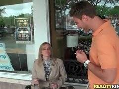 Cute guy tries to make friends with hot blonde milf.