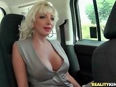 Natasha Juju rubs her pussy for a little bit right in car as an advance of future pleasure.