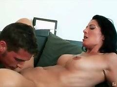 Tough fellow tongues and fingers milf`s cunt until makes her cum.