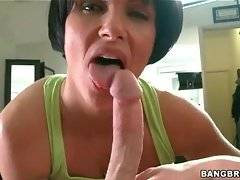 Hot milf Shay Fox plays with her pussy before sucking juicy dick.
