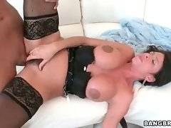 Muscled guy deeply drills hot milf and feeds her with cum.