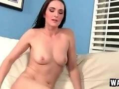 Slutty beautiful milf hungrily slurps step son`s thick young cock.